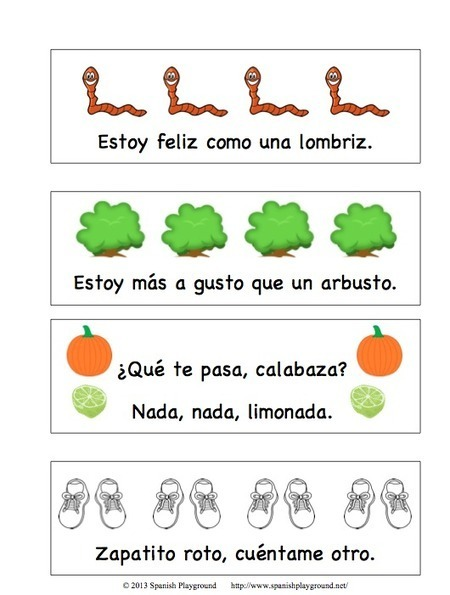 Printable Spanish Bookmarks with Rhyming Phrases | Preschool Spanish | Scoop.it