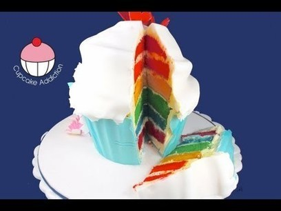 Make a Giant Rainbow Layer Cup Cake! A Cupcake Addiction How To Tutorial - YouTube | Cakes | Scoop.it