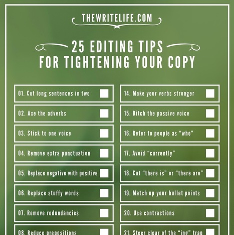 25 Editing Tips for Tightening Your Copy: Now a Printable Checklist | Content writing tips | Scoop.it