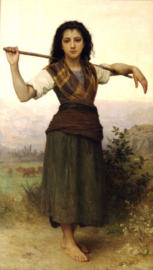 The Shepherdess (1889) Oil Painting by William-Adolphe Bouguereau | Oil paintings Gallery | Scoop.it