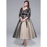 [RUB 5568.13] Платье для Балла V-образный Длина ниже колен Тюль Шармёз Свадебные Платье с Рябь кружева (002024298) | fashion dress | Scoop.it