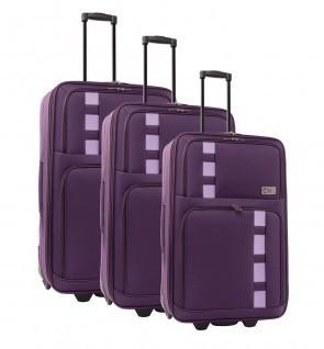 Lot de 3 valises-chariots POLYESTER 600D prune   comptoirdubagage   Scoop.it