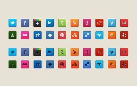 Purty Social Icons, pack de bellos iconos sociales de uso gratuito | herramientas | Scoop.it
