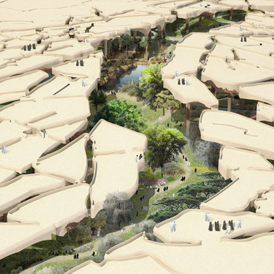 "Thomas Heatherwick unveils ""sunken oasis"" for Abu Dhabi 