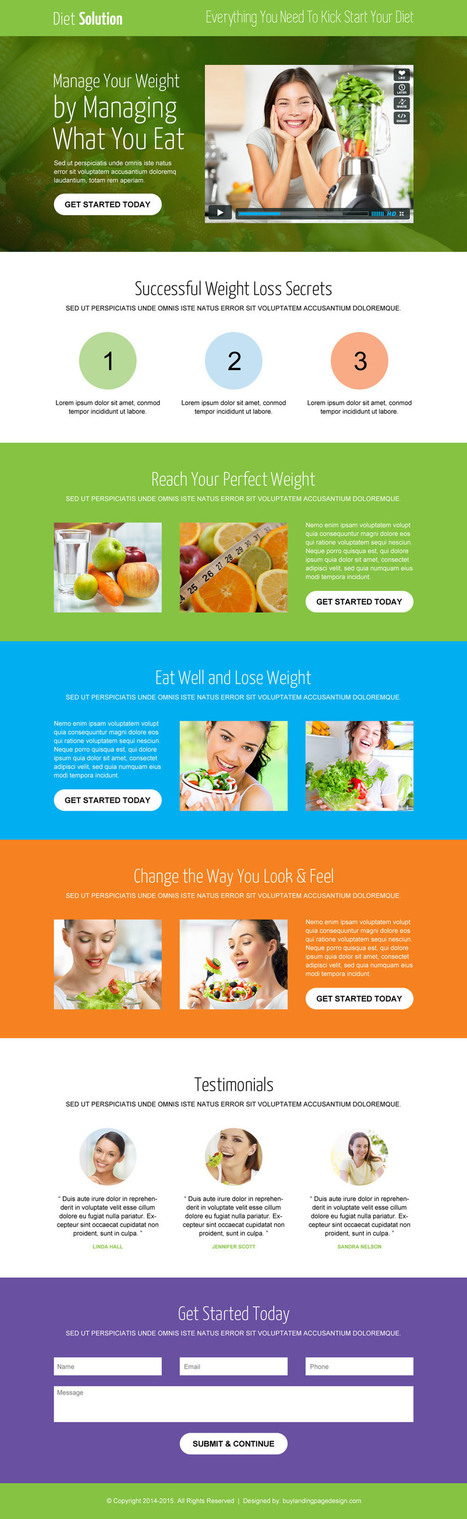 Best weight loss landing page design templates 2016 | Online Marketing | responsive landing pages | Scoop.it