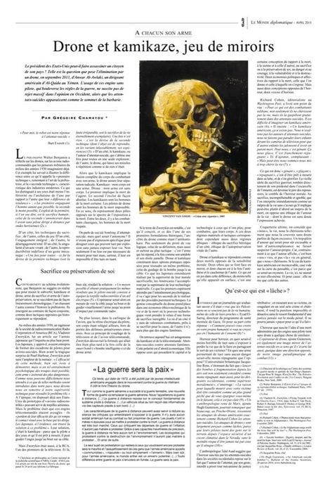 Grégoire Chamayou / Drone et kamikaze, jeu de miroirs,  (Le Monde diplomatique) | Les chercheurs en SHS de la métropole Lyon-Saint Etienne dans les médias | Scoop.it