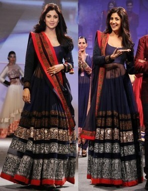 Shilpa Shetty Navy Blue Long Anarkali Suit - giftadi | Gifting Zone | Scoop.it