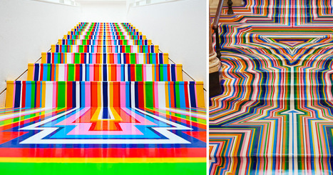 #Technicolour #Rainbow #Tape #Floor #Installations by Jim Lambie. #art #colour | Luby Art | Scoop.it