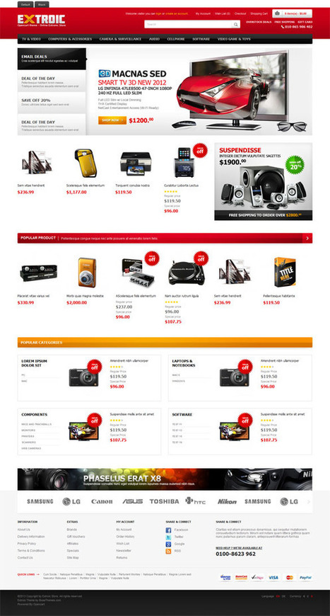 Extroic, Opencart Premium Electronics Prooducts Shop Theme | Premium Download | Themes | Scoop.it