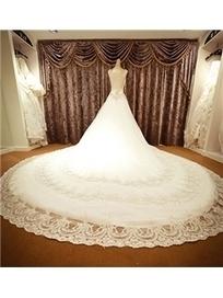 $ 595.99 Luxurious A-Line Crystal Bateau Neckline Cathedral Wedding Dress | Fashion ladies | Scoop.it
