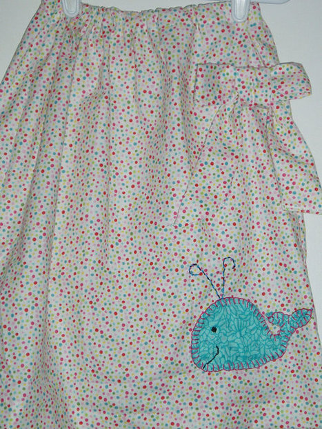 Charming Handmade Girls Skirt white and multi-color dotted  SIZE 6 Hand Embroidered Whale applique | Kids Clothing | Scoop.it
