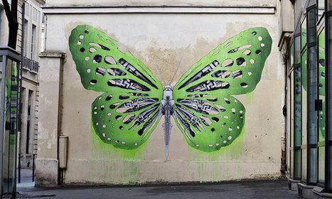 Un artiste parisien couvre les murs de France avec ses oeuvres mêlant nature et technologie | Thinking Lines | Scoop.it