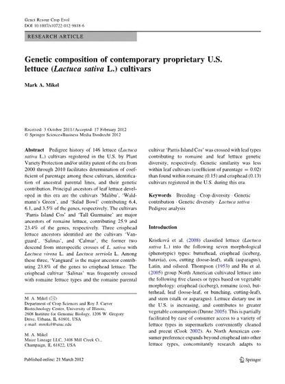 Genetic composition of contemporary proprietary U.S. lettuce (Lactuca sativa L.) cultivars | Agricultural Biodiversity | Scoop.it