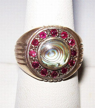 Ruby Sterling Silver Ring Abalone Shell & 12 Genuine Rubies Signed 925 Sz 7 Vintage | Vintage Jewelry and Fashions | Scoop.it