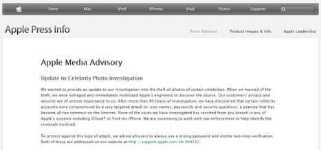 iCloud Breach | Apple - Press Info - Apple Media Advisory | Apple, Mac, iOS4, iPad, iPhone and (in)security... | Scoop.it
