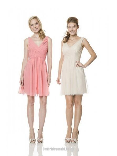 2014 New Design Cute Girls Short Uk Bridesmaid Dresses UK with V-neck,A-line,Chiffon Fabric,Knee-length, B2014111712 - Cmbridesmaid.co.uk   dressmebridal   Scoop.it
