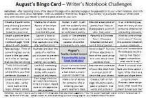 Writer's Notebook Bingo Card Set: Now there's an August Card! - Writing Lesson of the Month Network | 6-Traits Resources | Scoop.it