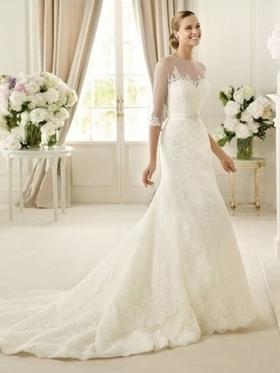 Sheath/Column Scoop Lace Tulle Satin Court Train Appliques Wedding Dresses at Millybridal.com | wedding and event | Scoop.it