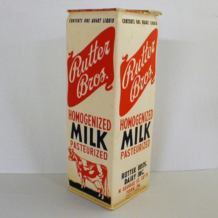 1960s Waxed Milk Carton Rutter Bros Dairy York by ThePaperTomato | Antiques & Vintage Collectibles | Scoop.it