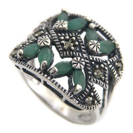 Beta Jewelry 925 Sterling Silver Natural Genuine Emerald Marcasite Gemstone Ring Size 7 | Wholesale Silver Jewelry | Scoop.it