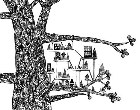 """Black White Art Print: """"Treehouse City"""" - Ink Pen Drawing of a Swirly Tree With a Small City 8x10 Whimsical Print 