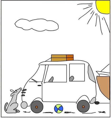 Regardez le dessin et complétez les phrases: sur, dans, derrière, devant ou sous ?   FLE -  enfants - maternelle et primaire   Scoop.it