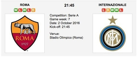 Roma vs. Inter: Match preview - 02/10/2016 - Serie A | ukbettips.co.uk | Scoop.it