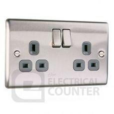 Brushed Stainless Steel Double Plug Socket 13Amp 2G   BG Nexus NBS22G   House Rennovations   Scoop.it