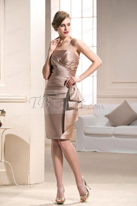 Elegant Strapless knee-length Sheath/Column Mother of the Bride Dress | skirt | Scoop.it