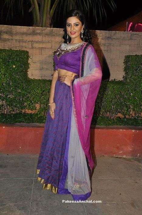 SriMukhi in Purple Designer Half Saree at Dhanalakshmi Talupu Tadithey Music Launch | Indian Fashion Updates | Scoop.it