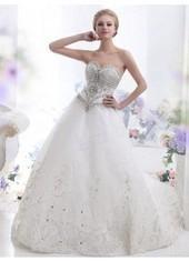 A Line Sweetheart Chapel Train Tulle Ivory Wedding Dress Lbldb12121 for $873 | Bellaboy | Scoop.it