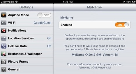 MyName Cydia Tweak - Change Your Carrier Name For iPhone iPad iPod ~ Geeky Apple - The new iPad 3, iPhone iOS6 Jailbreaking and Unlocking Guides | Best iPhone Applications For Business | Scoop.it