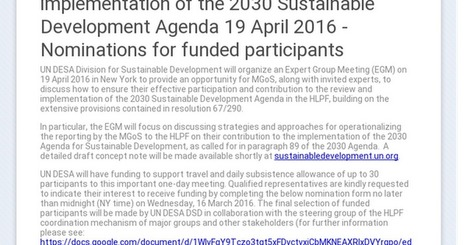 Expert group meeting on  Shaping the reporting by Major Groups and Other Stakeholders on their contribution to the implementation of the 2030 Sustainable Development Agenda 19 April 2016 - General ...   2030 Agenda for Sustainable Development   Scoop.it