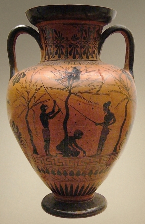 Amphora_olive-gathering_BM_B226.jpg (579x893 pixels) | ARCHAIC period art 800-500BCE | Scoop.it