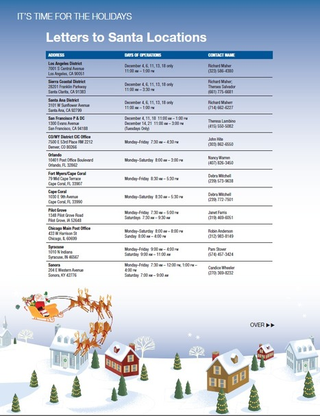 Operation Santa Participating USPS Office List 2012 | Operation Santa Claus - Santa's Blog | Christmas and Winter Holidays | Scoop.it
