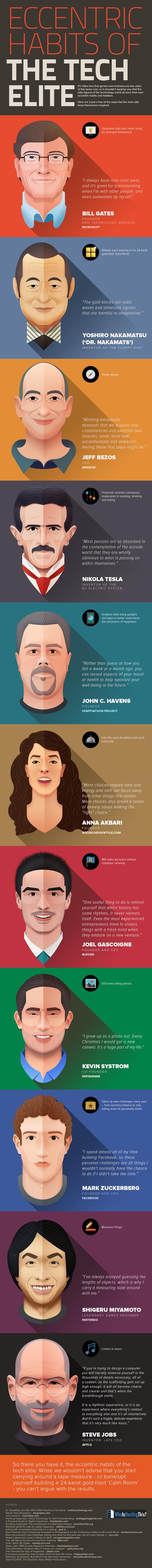Eccentric Habits of Tech Geniuses Infographic | Information Powerhouses | Scoop.it
