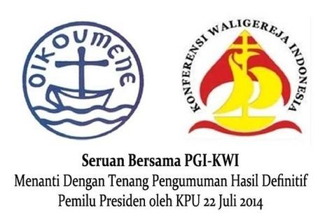 Satu Harapan: Seruan PGI-KWI: Tetap Tenang Menunggu Definitif Pemenang Pilpres | Kabar Indonesia | Scoop.it