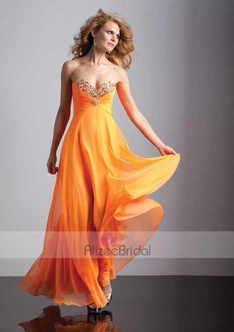 Sweetheart Floor Length Chiffon Beading Princess Prom Dress Oft0022 | Fashion Dresses Online | Scoop.it
