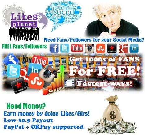 Free Facebook Likes - LikesPlanet.com | LikesPlanet.com - Free Facebook Likes - Free YouTube Plays-Likes-Dislikes - Twitter Followers - Free Fans - Free Social Traffic Exchanger | Scoop.it