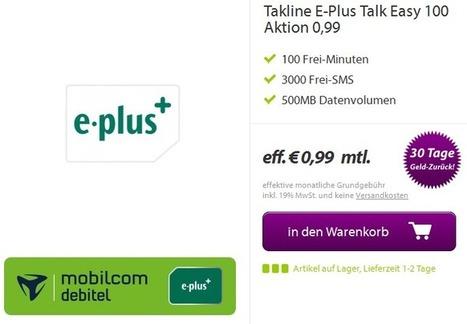 Der HAMMER! – Takline E-Plus Talk Easy 100 Aktion – 100 Frei-Minuten – 3000 Frei-SMS – 500MB Datenvolumen – eff. € 0,99 mtl. | Koelner-PC-Hilfe | Scoop.it