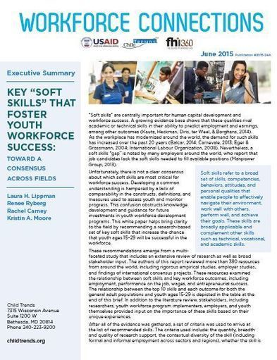 """Key """"Soft Skills"""" that Foster Youth Workforce Success: Toward a Consensus across Fields - Executive Summary 