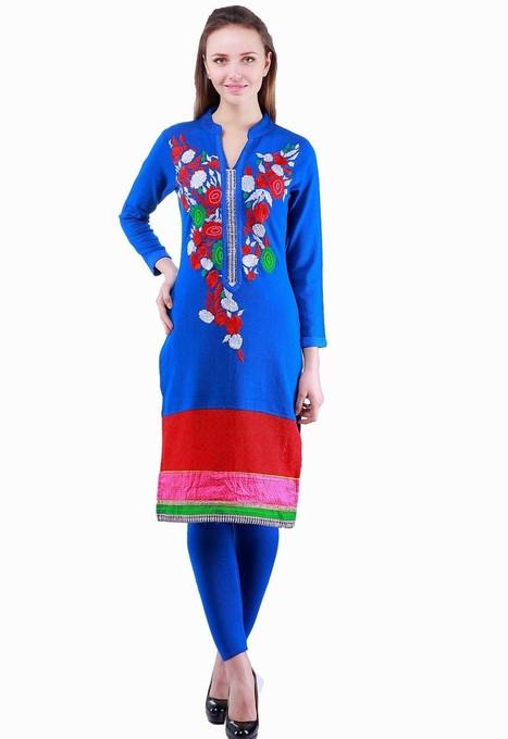 Royal Blue Designer Kurti | Women Winter Clothes | Scoop.it