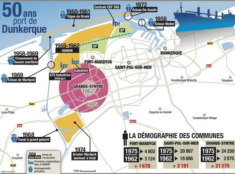 Carte : 50 ans du port de Dunkerque: à l'époque, une géographie et une démographie bouleversées (La Voix du Nord) | CAPLP lettres histoire : ressources pour les questions au concours | Scoop.it