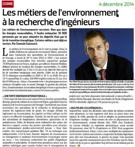 Les métiers de l'environnement à la recherche d'ingénieurs - Usine Nouvelle du 4 décembre 2014 | EIGSI école d'ingénieurs généralistes | Formation ingénieur EIGSI La Rochelle | Scoop.it