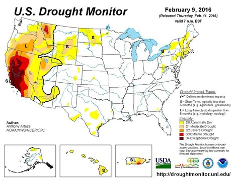United States Drought Monitor > February 9, 2016 | Grain du Coteau : News ( corn maize ethanol DDG soybean soymeal wheat livestock beef pigs canadian dollar) | Scoop.it