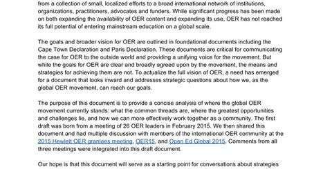 Please contribute to: ‎OER‬ Implementation Strategy Document | DRAFT 1.1 | Open Educational Resources (OER) - deutsch | Scoop.it