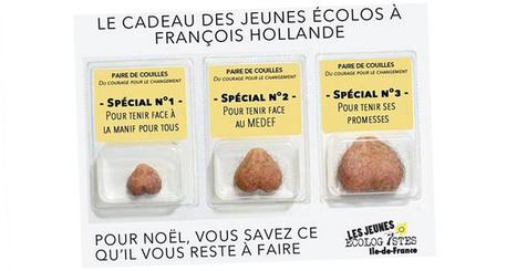 Les jeunes écologistes d'Ile-de-France retirent une campagne offrant des testicules à François Hollande pour Noël | appsolunews | Scoop.it