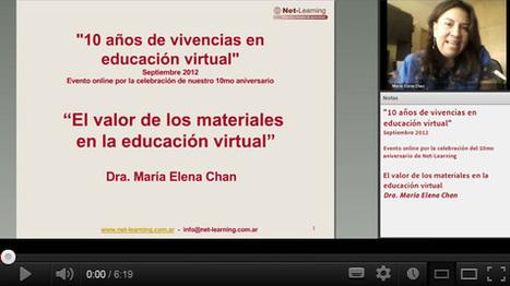 Videoconferencia gratuita: El valor de los materiales en la educación virtual - Dra. María Elena Chan | Net-Learning Blog | Entornos virtuales de aprendizaje | ciberespacio | Scoop.it