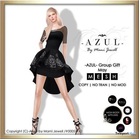 Black Dress With Body Appliers May 2016 Group Gift by AZUL | Teleport Hub - Second Life Freebies | Second Life Freebies | Scoop.it