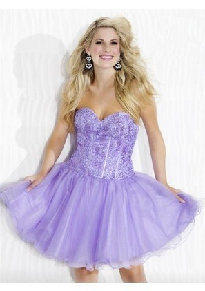 A Line Sweetheart Mini Purple Organza Homecoming/Cocktail Dress Adori0002 - Cocktail Dresses - Special Occasion Dresses | mode | Scoop.it